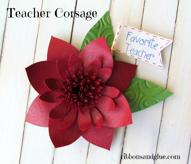 Give a DIY Teacher Corsage to your favorite teacher out of paper! Love this idea, so simple and can make the flower out of any colors.