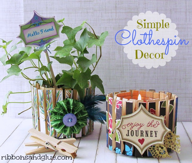 Simple DIY Clothespin Decos! r. Planter and Candle would make great Mother's Day Gift