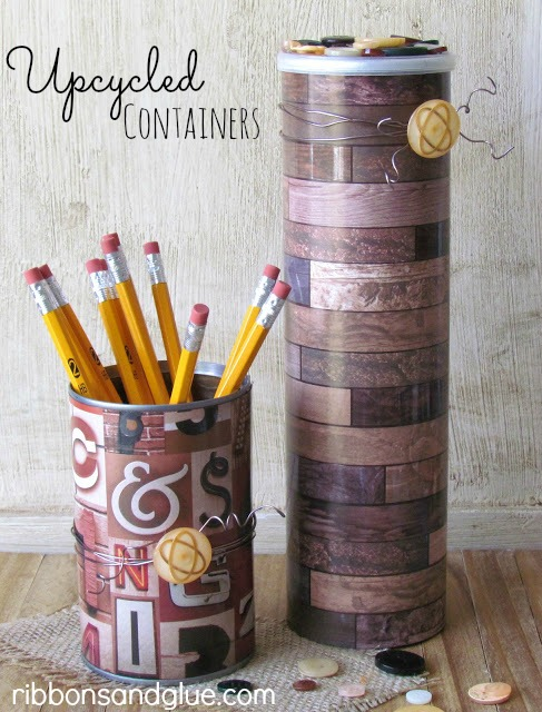 Upcycle a soup can and Pringles Can into simple and inexpensive home decor