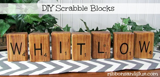 Personalized DIY Scrabble Blocks made out of blocks of wood and Silhouette