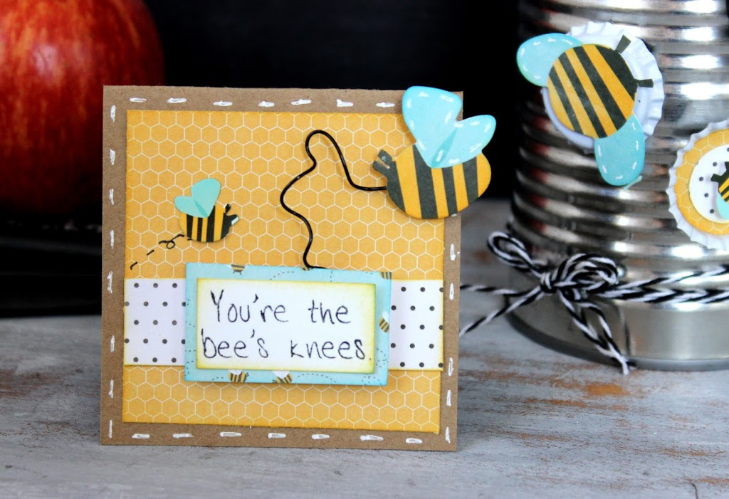You're The Bee's Knees Teacher Card. Love the coordinating pencil holder too