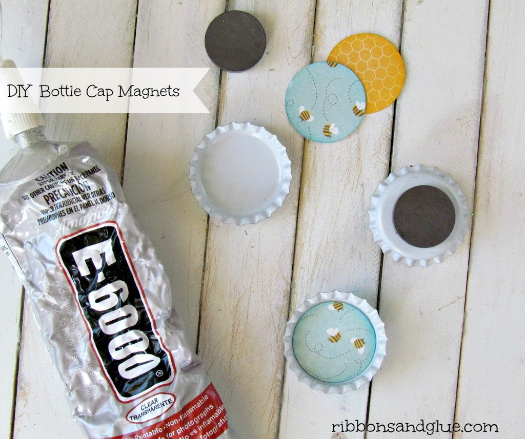 How to make DIY Bottle Caps Magnets. All you need is bottle caps, strong adhesive and magnets!