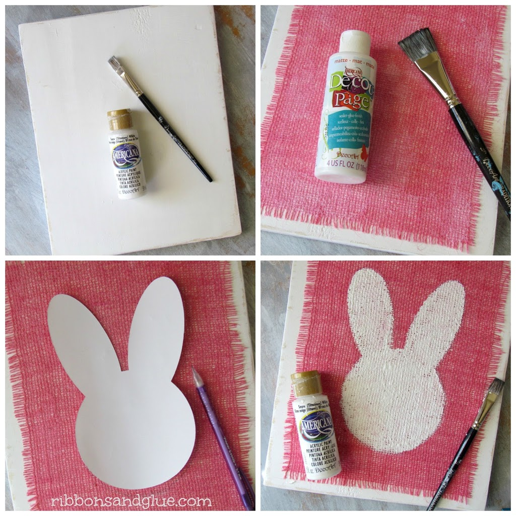 How to make a Painted Burlap Bunny Sign