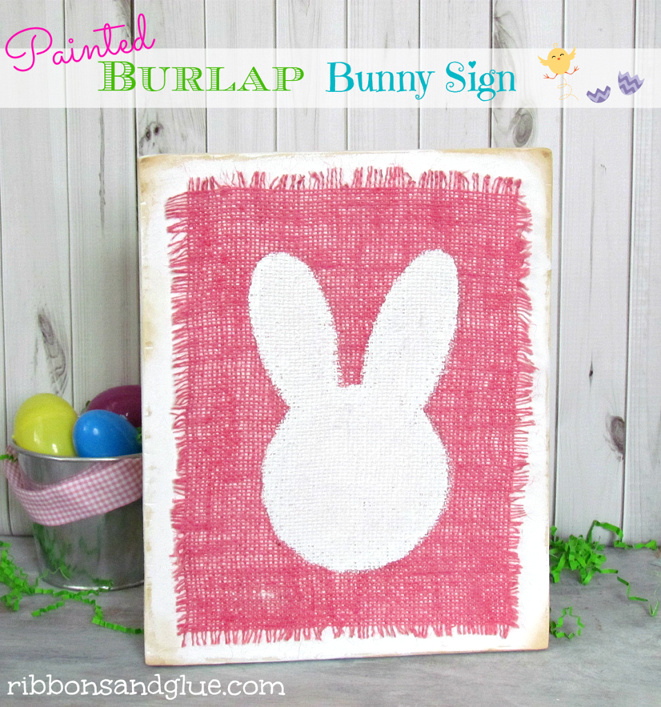 How to make a Burlap Bunny Sign. All you need is a wood board, white paint, burlap, bunny stencil and decoupage. Easy Spring Craft!