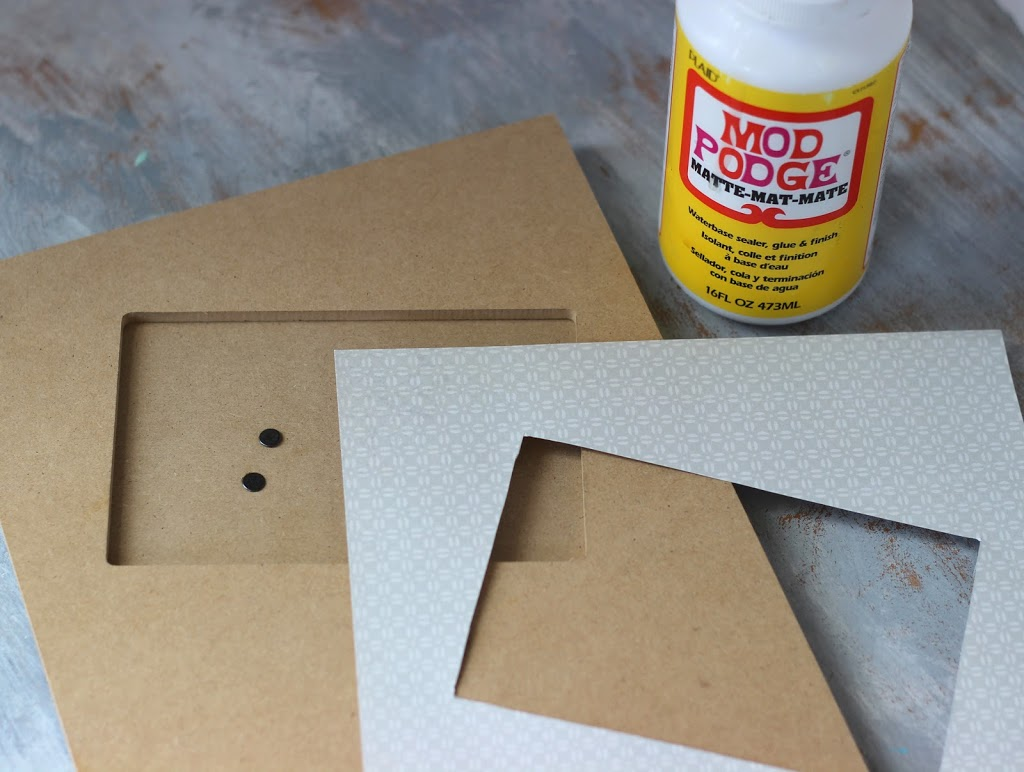 use Mod Podge to decoupage a picture frame with patterned paper