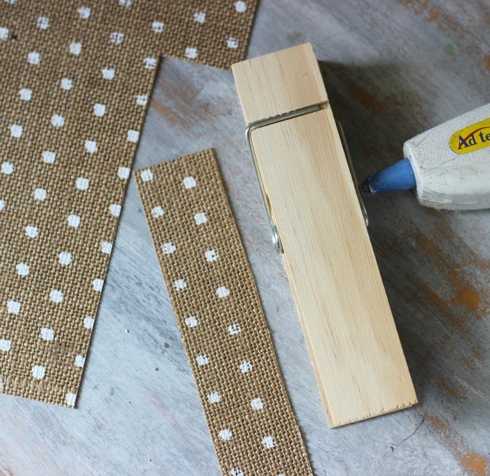 DIY Burlap Clothespins