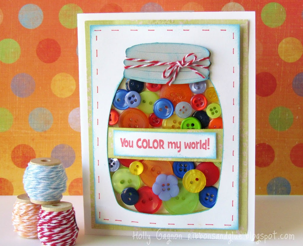 Jar Full of Buttons Card made with Cricut. Great way to use up buttons!