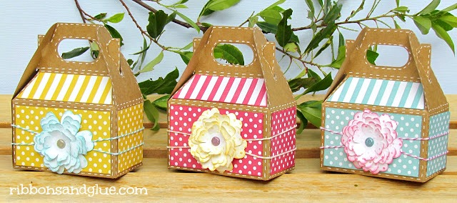 Garden Party Gable Box Favors embellished with Cricut Flower Shoppe