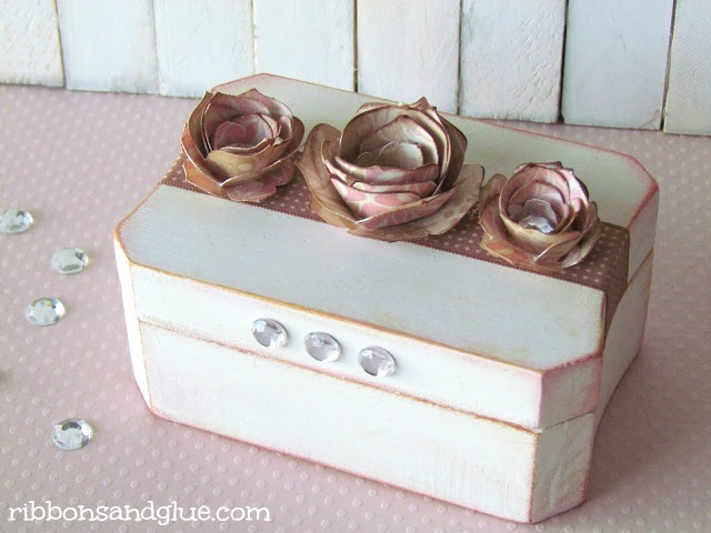 Mother's Day Box Keepsake Box. Wooden Box altered with paint, paper flowers and letters.