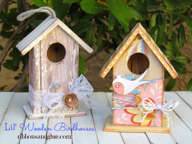 Natural Wood Birdhouses decorated with scrapbooking paper and Mod Podge