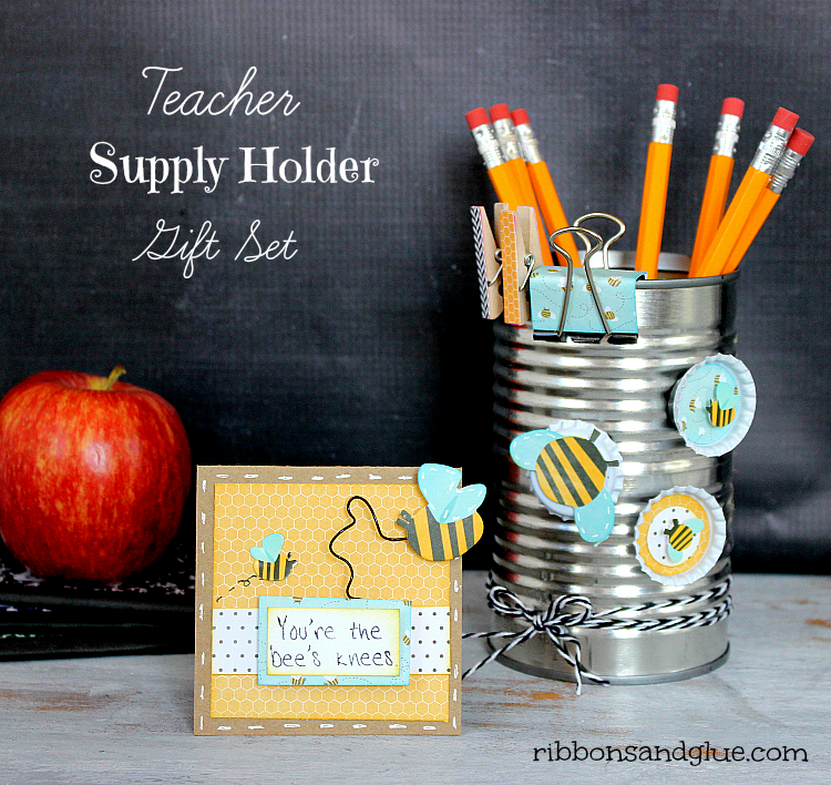 Teacher Supply Holder and Bottle Cap Magnets tutorial