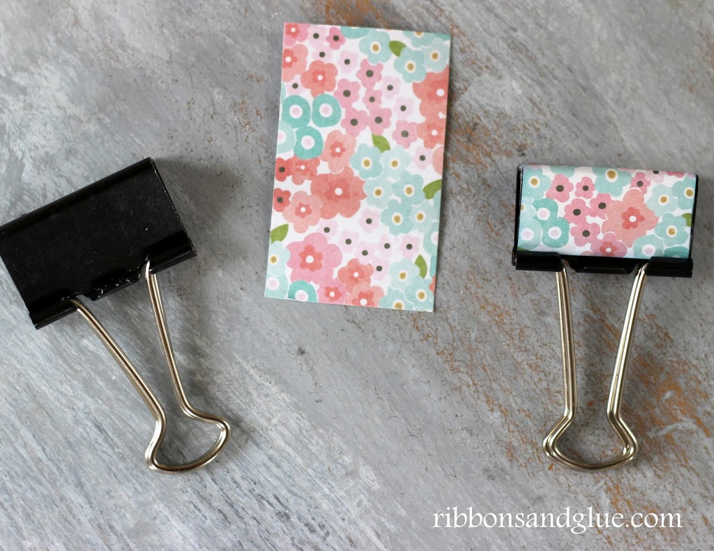 Quick ans Simple DIY Metal Clip Makeover with scrapbooking paper