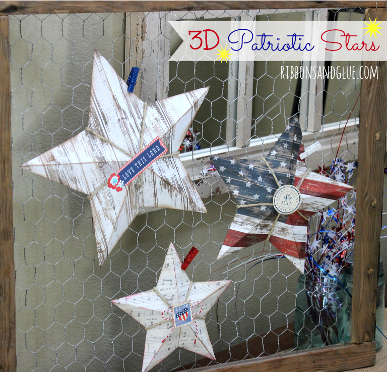 How to make 3D Patriotic Stars using  a Scor Board and rustic , Americana scrapbooking paper